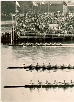 The UW crew team (far shell) winning the 1936 Olympics in Berlin